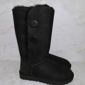 UGG BAILEY TRIPLE ll BUTTON BLACK TALL BOOTS